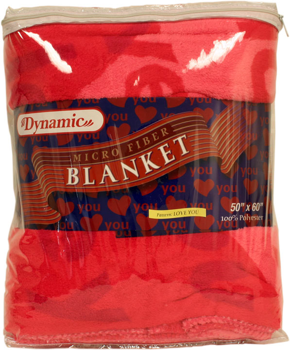 "Dynamic Micro Fiber Blanket with ""Love You"" Print (1 Unit)"