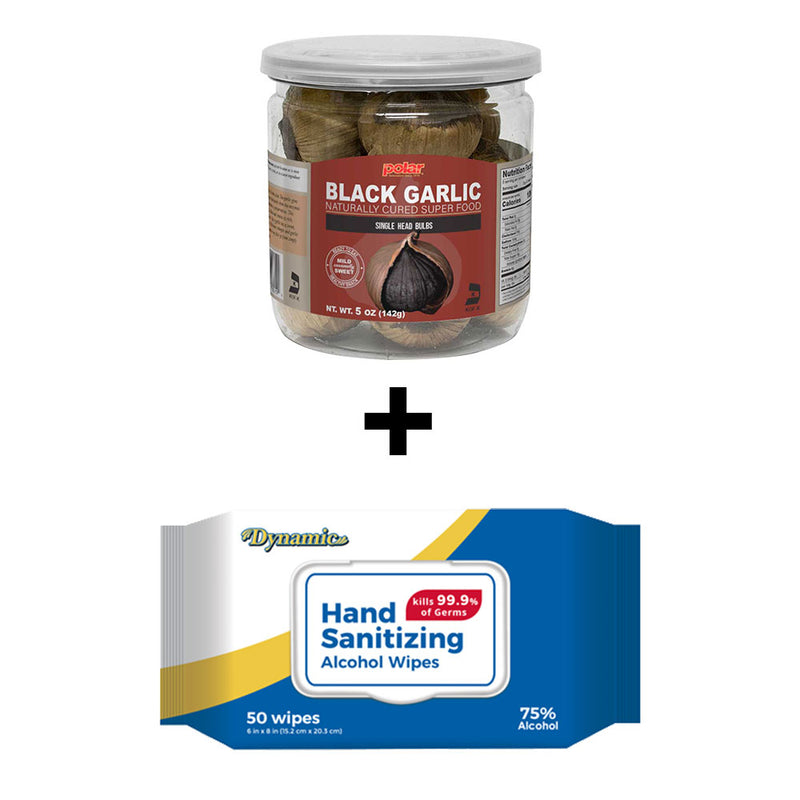 Black Garlic 5oz (Pack of 6) + Alcohol Wipes (Pack of 6) Holiday Bundle - MWPolar