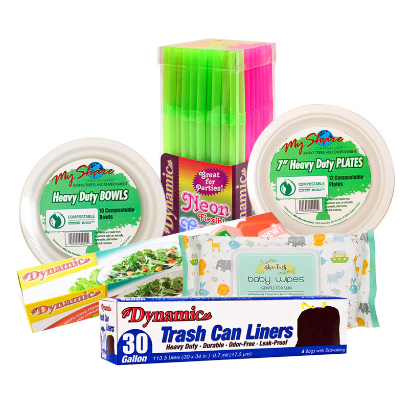 Full Case $10 (Dynamic Plates, Bowls, TrashCan Liners, Sheer Fresh Baby Wipes, Food Wrap, Straws)
