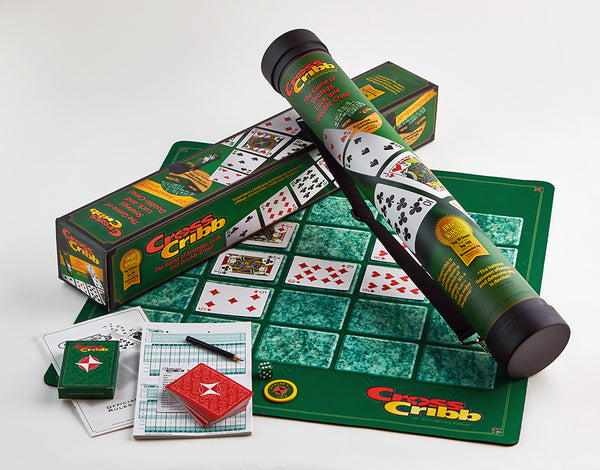 CrossCribb 20th Anniversary Edition includes a new neoprene game board, score pad, premium quality playing cards, pencil, die, dealer's crib chip, durable plastic carrying tube with shoulder strap, and full scoring rules.