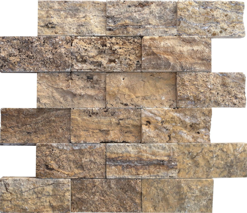 02ALPI04-ALP 2x4 Travertine Mosaic Tile - Discount Tile®