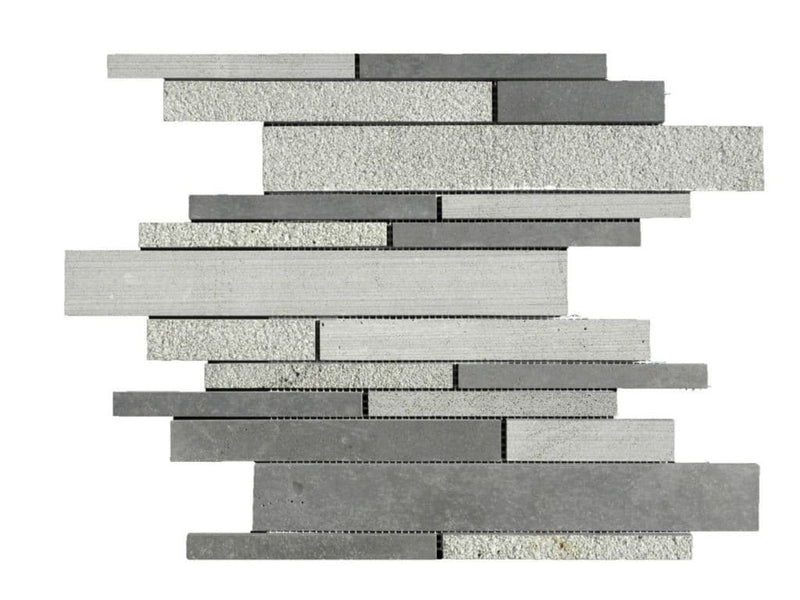 12BLBA12-DEC Deco Strip Basalt Mosaic Tile