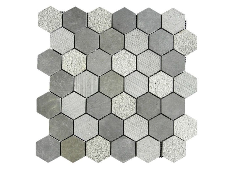 12BLBA12-HEX Hexagon Basalt Mosaic Tile