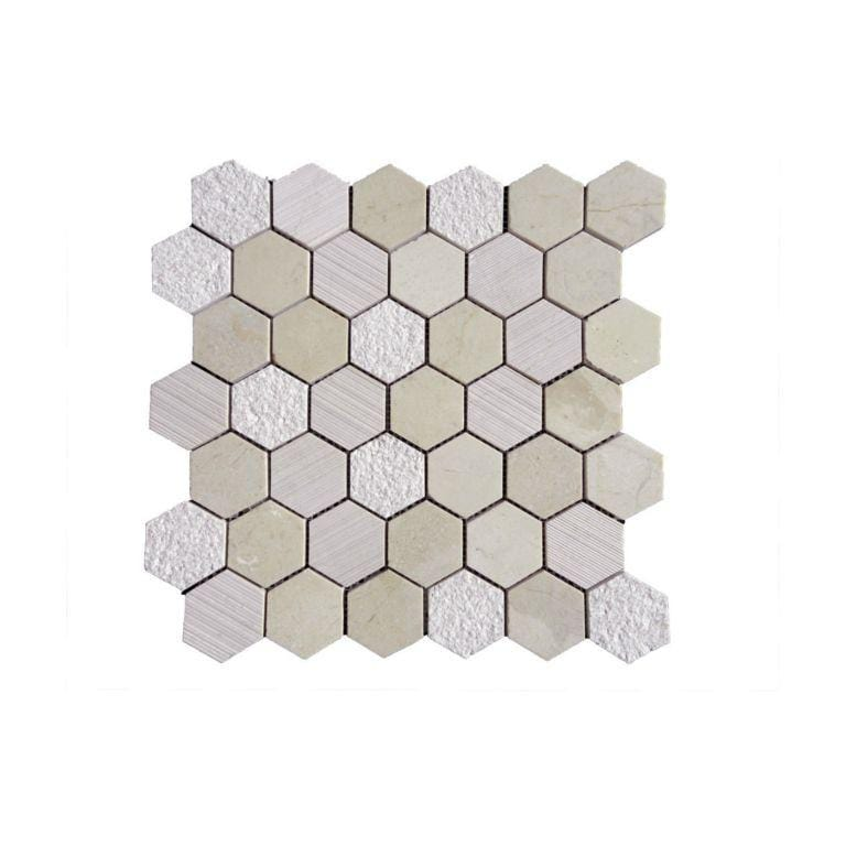 12CRMA12-HEX Hexagon Marble Mosaic Tile