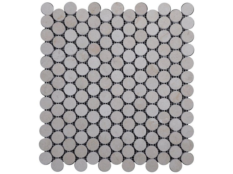 12CRMA12-PER Penny Round Marble Mosaic Tile