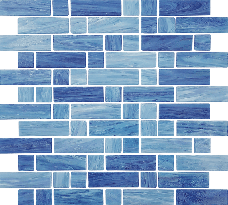 12DASH12-AEG 1x1 & 1x3 Glass Mosaic Tile