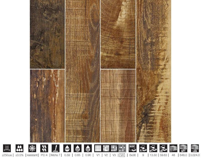 Chalet Mahogany Red Porcelain Tile Flooring Wood Look Discount Tile