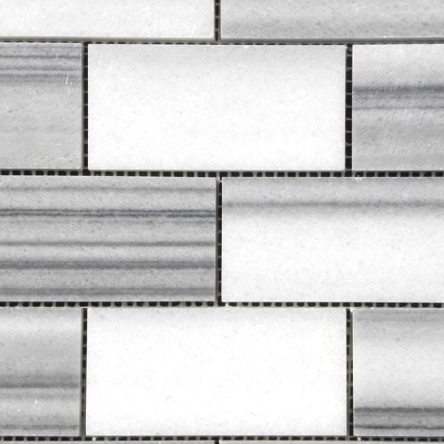 02MARM04-WHI 2x4 Marble Mosaic Tile