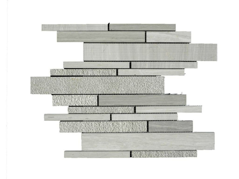 12WOGR12-DEC Deco Strip Limestone Mosaic Tile