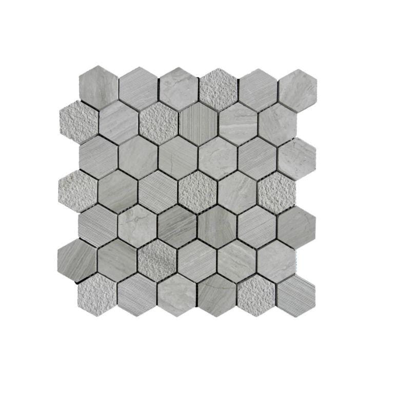 12WOGR12-HEX Hexagon Limestone Mosaic Tile