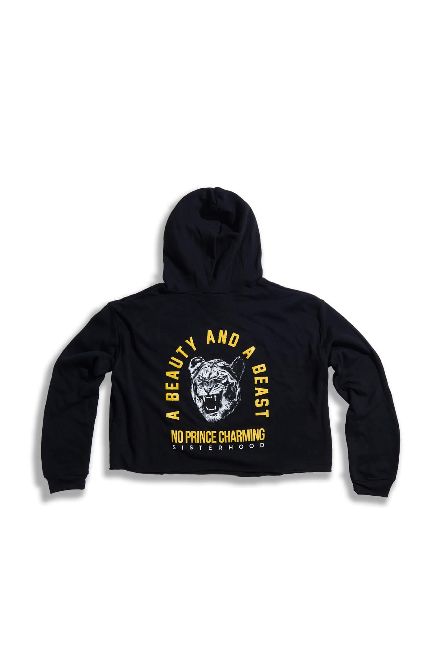 A BEAUTY AND A BEAST CROP HOODIE - BLACK