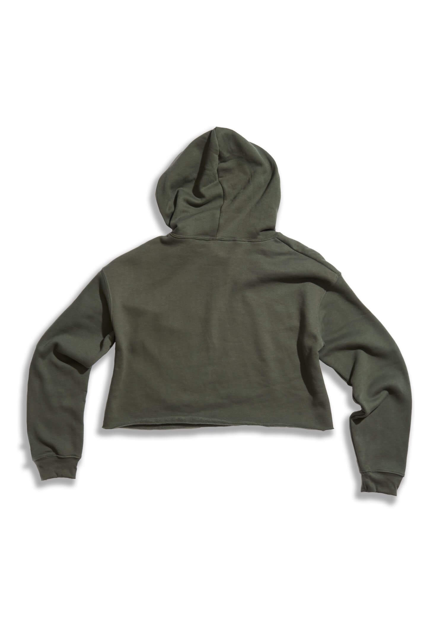 GIRLS FIGHT CROP HOODIE - OLIVE