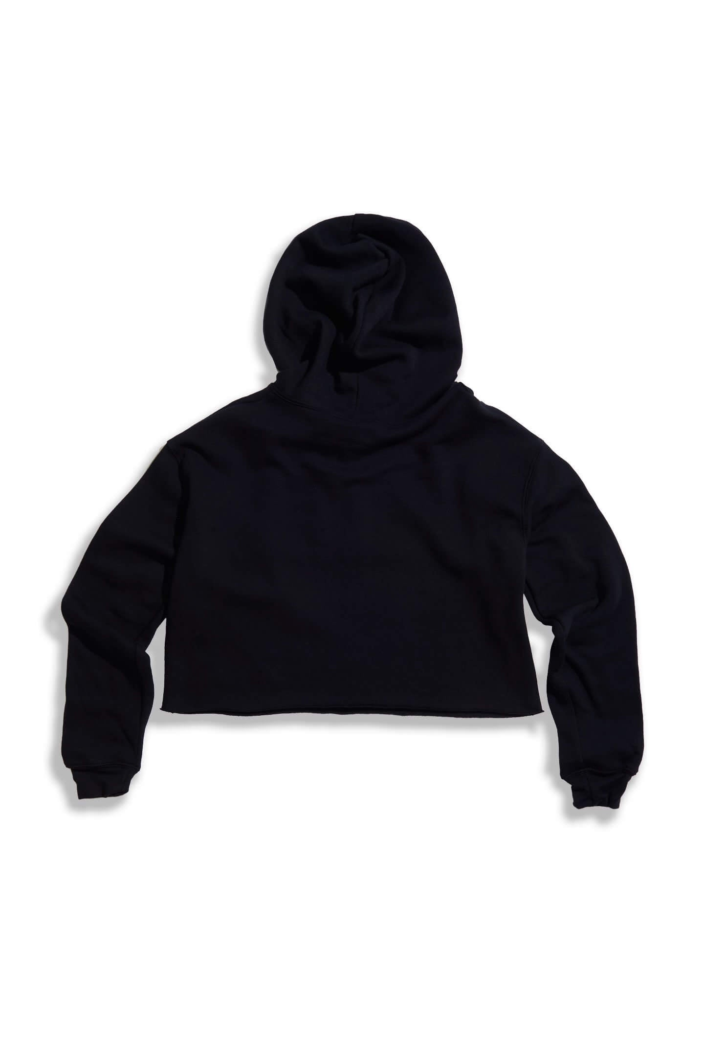 GIRLS FIGHT CROP HOODIE - BLACK