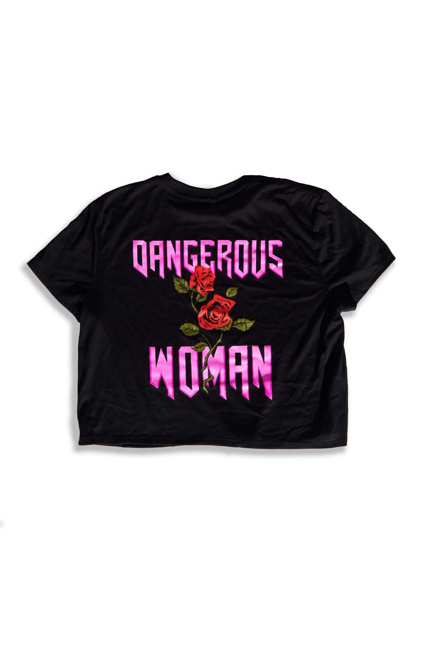 DANGEROUS WOMAN CROP TEE - BLACK