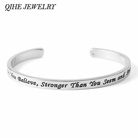 """You're Braver Than You Believe, Stronger Than You Seem and Smarter Than You Think"" Open Bangle"