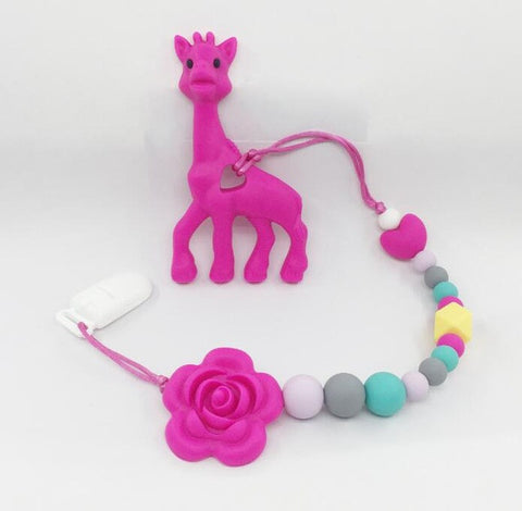 Silicone teething Giraffe Teether Clip ,baby teether pacifier giraffe clip .silicone teething pacifier necklace Hanging Toy
