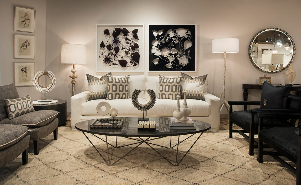 Mantra Furnishings and Accessories with black and white art decor