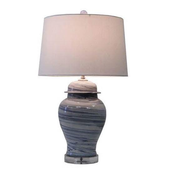 Blue and White Marblized Table Lamp