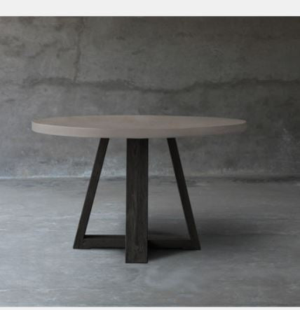 Concrete Dining Table Top with Base -Teak X