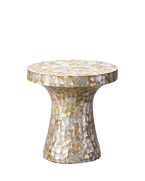 MOP Overlay Mushroom Table in Random White