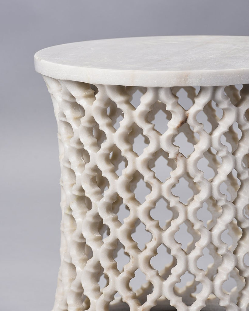 White Marble Round Jali Table by Mantra
