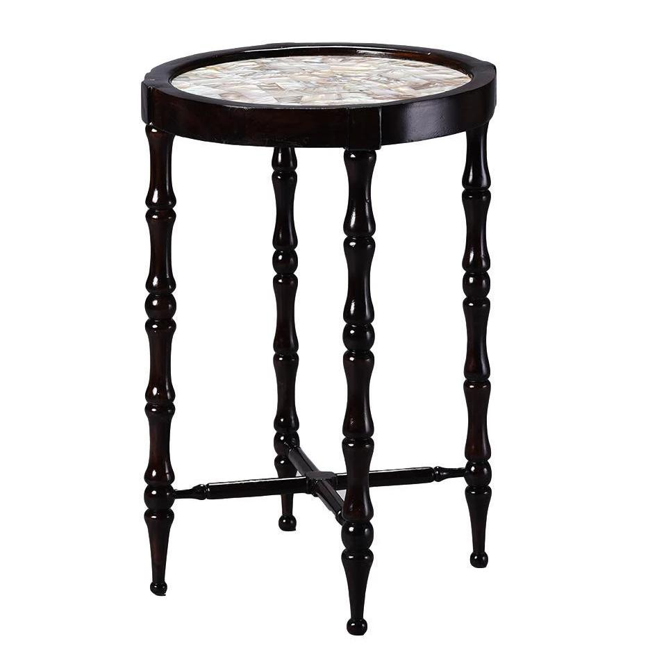 British Colonial Overlay Bamboo Motif Side Table with Mother of Pearl Top