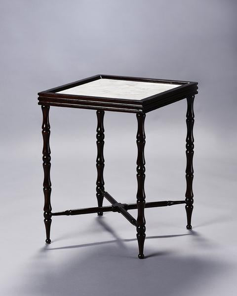 Colonial Overlay -Bamboo Motif Side Table with MOP
