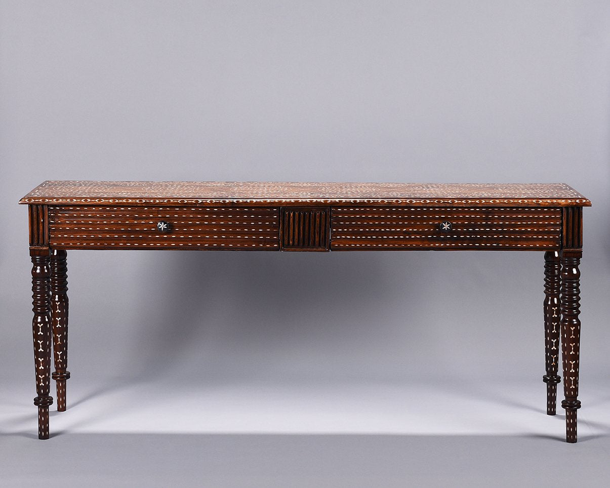 Mother of Pearl Inlaid Long Console with Drawers