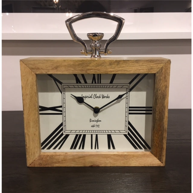 Wood Clock with Nickel -Rectangular