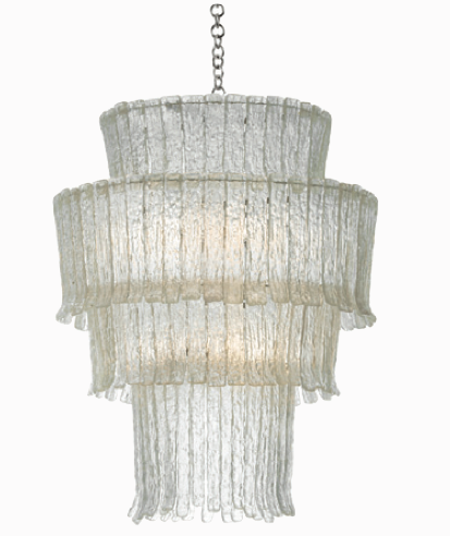 Oly Studio Gisele chandelier set in Cast Resin with Textured Tiers; Includes Canopy & 3-Foot Chain