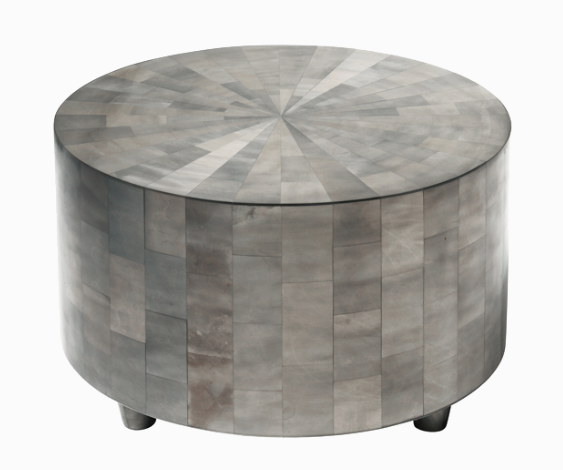 Large Adeline Cocktail Table by Oly Studio. Large sized Drum Table w/Resin Veneer