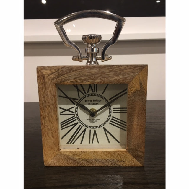 Wood Clock with Nickel -Square