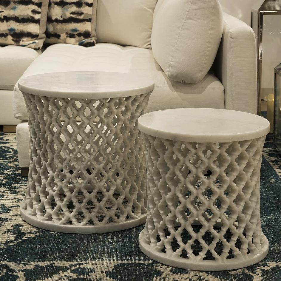Marble Round Jali Table set by Mantra Furnishings