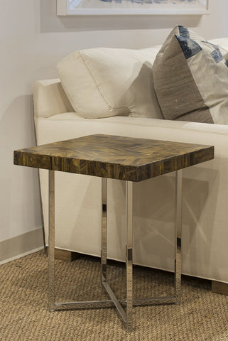 Tiger Eye Side Table with Stainless Steel Base