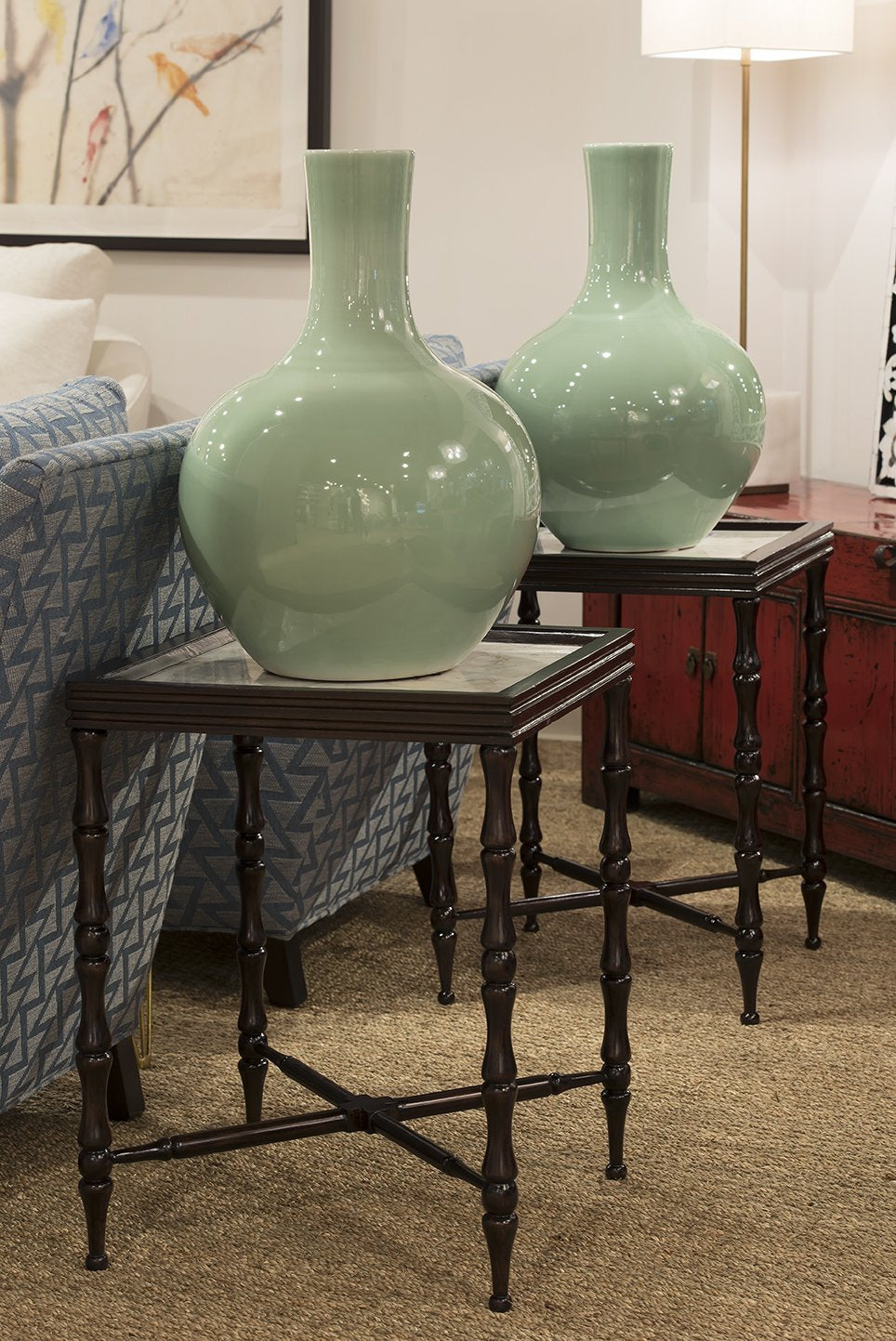 Colonial Overlay Bamboo Motive Side Table from Mantra Furnishings