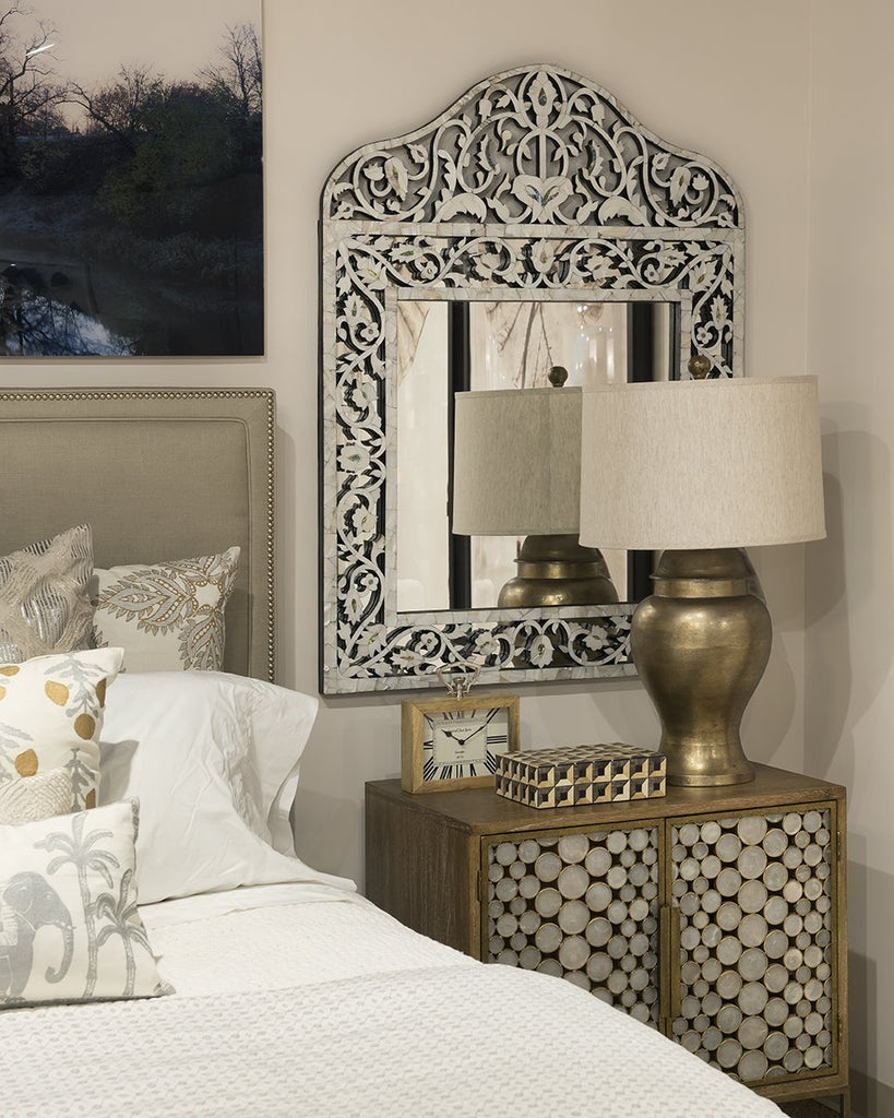 medium sized MOP overlay Taj mirror by Mantra Furnishings