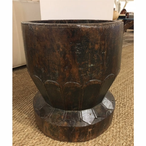 Large Wood Mortar with Carved Writing