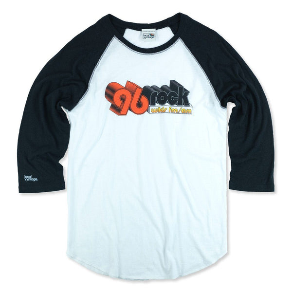 96 Rock Atlanta Baseball T-Shirt Front White With Black Sleeves