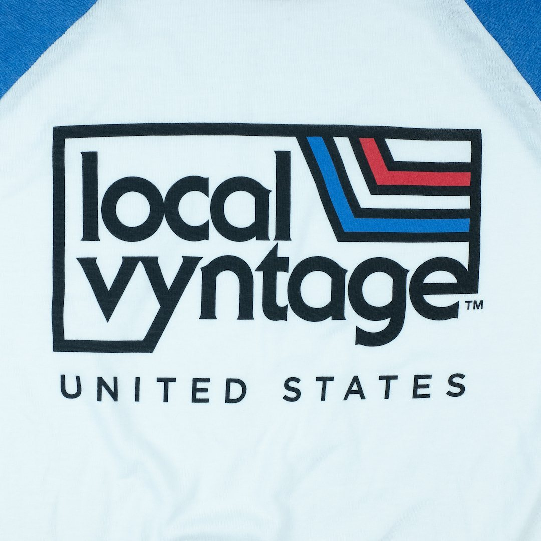 Local Vyntage USA T-Shirt Graphic White With Blue And Red