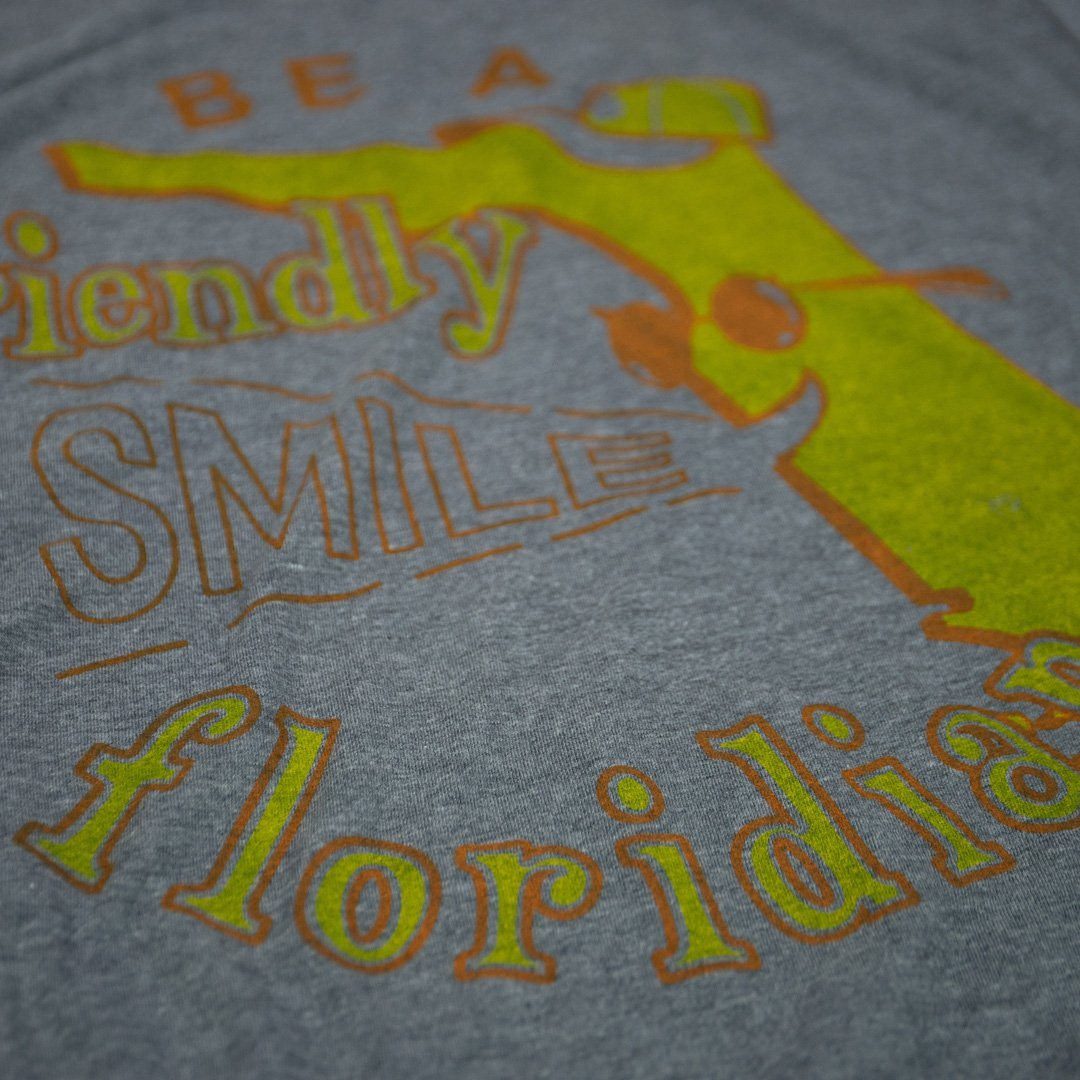 Be A Friendly Floridian T-Shirt Detail Gray