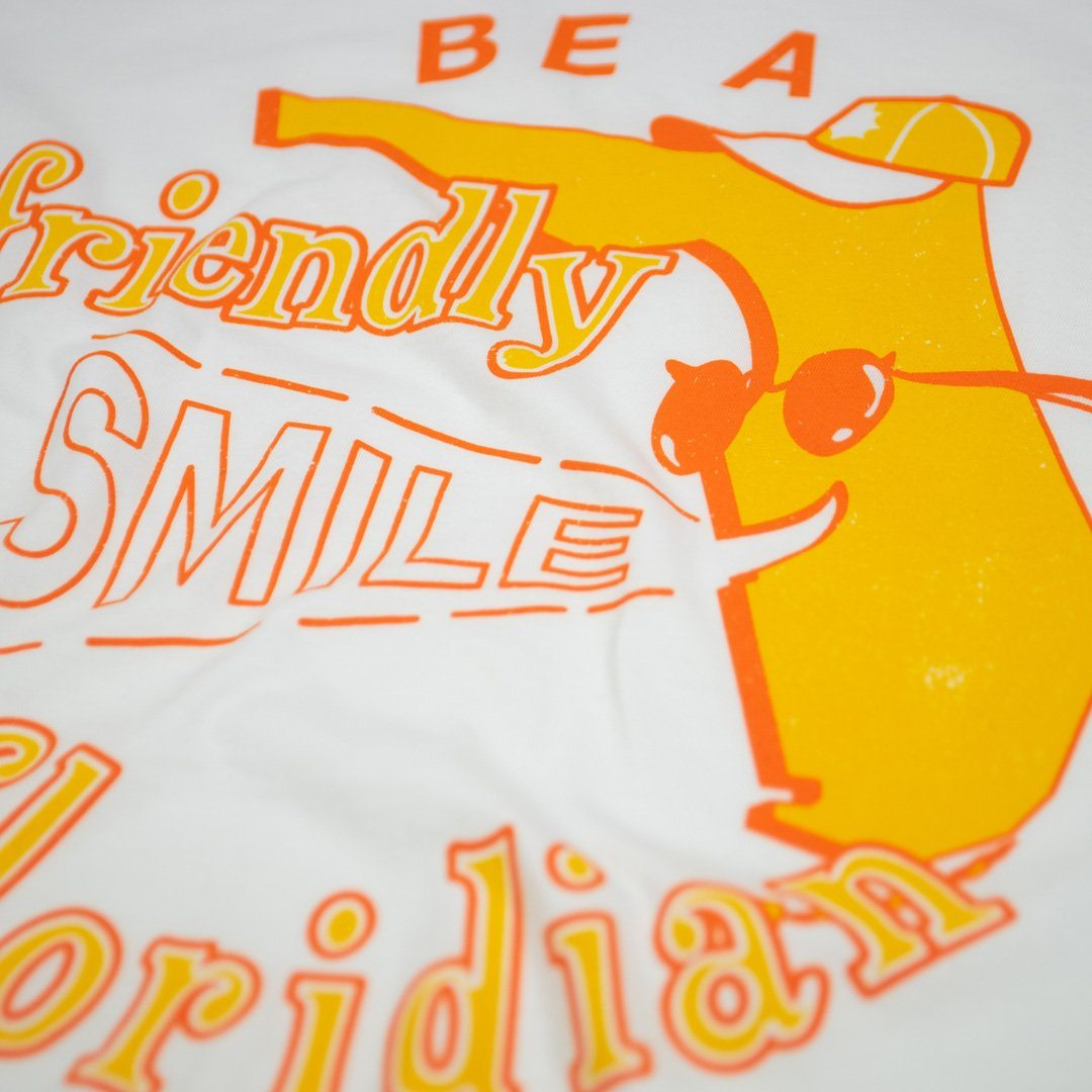 Be A Friendly Floridian T-Shirt Detail White