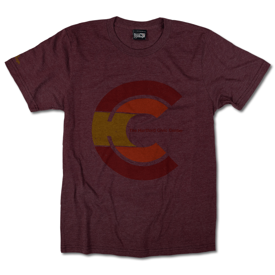 Hartford Civic Center T-Shirt Front Burgundy
