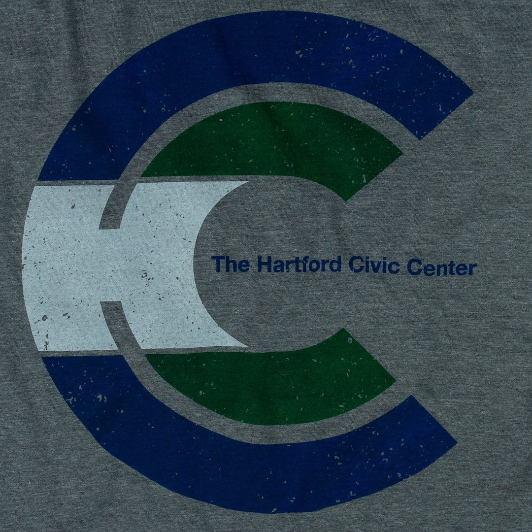 Hartford Civic Center T-Shirt Graphic Grey With Blue