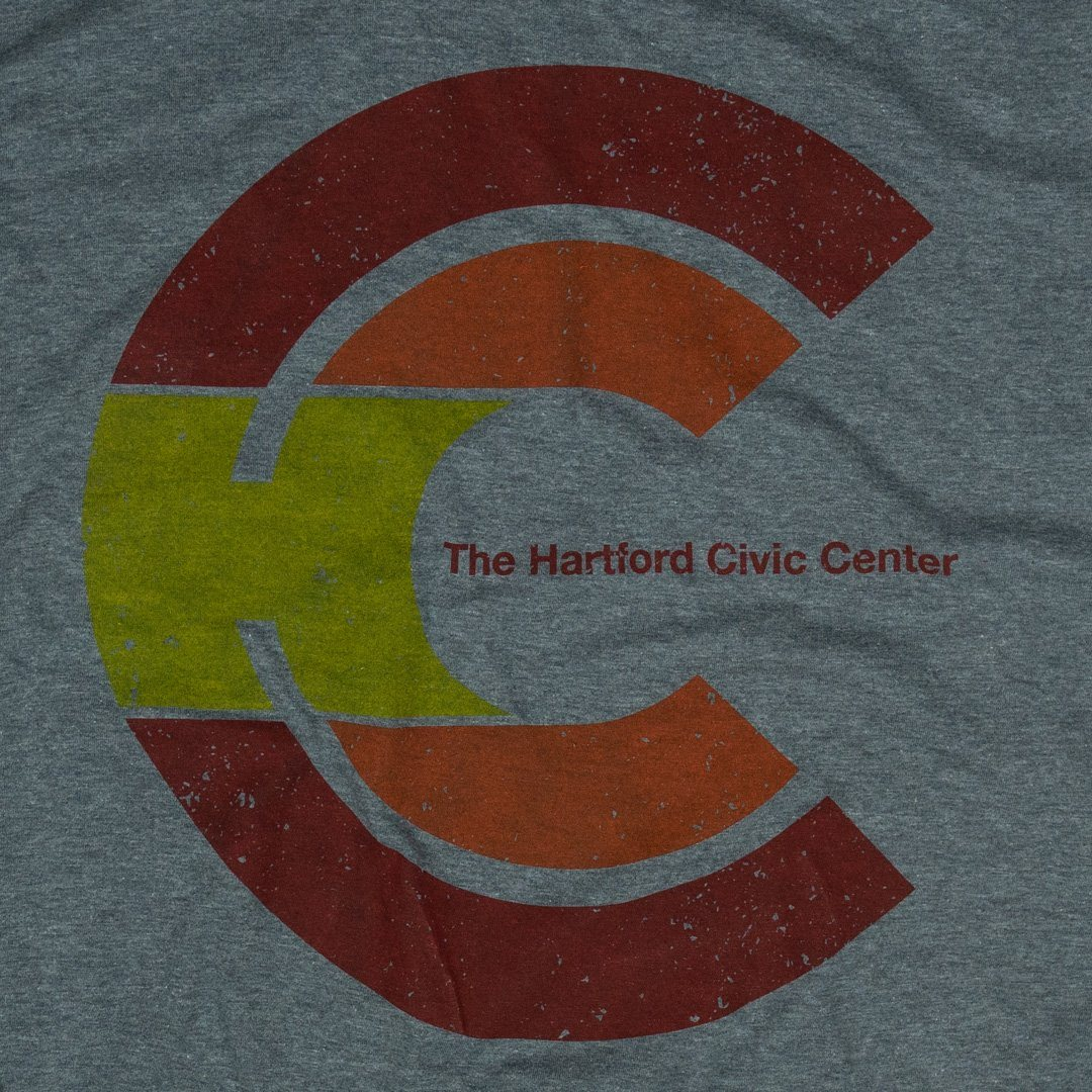 Hartford Civic Center T-Shirt Graphic Grey With Red