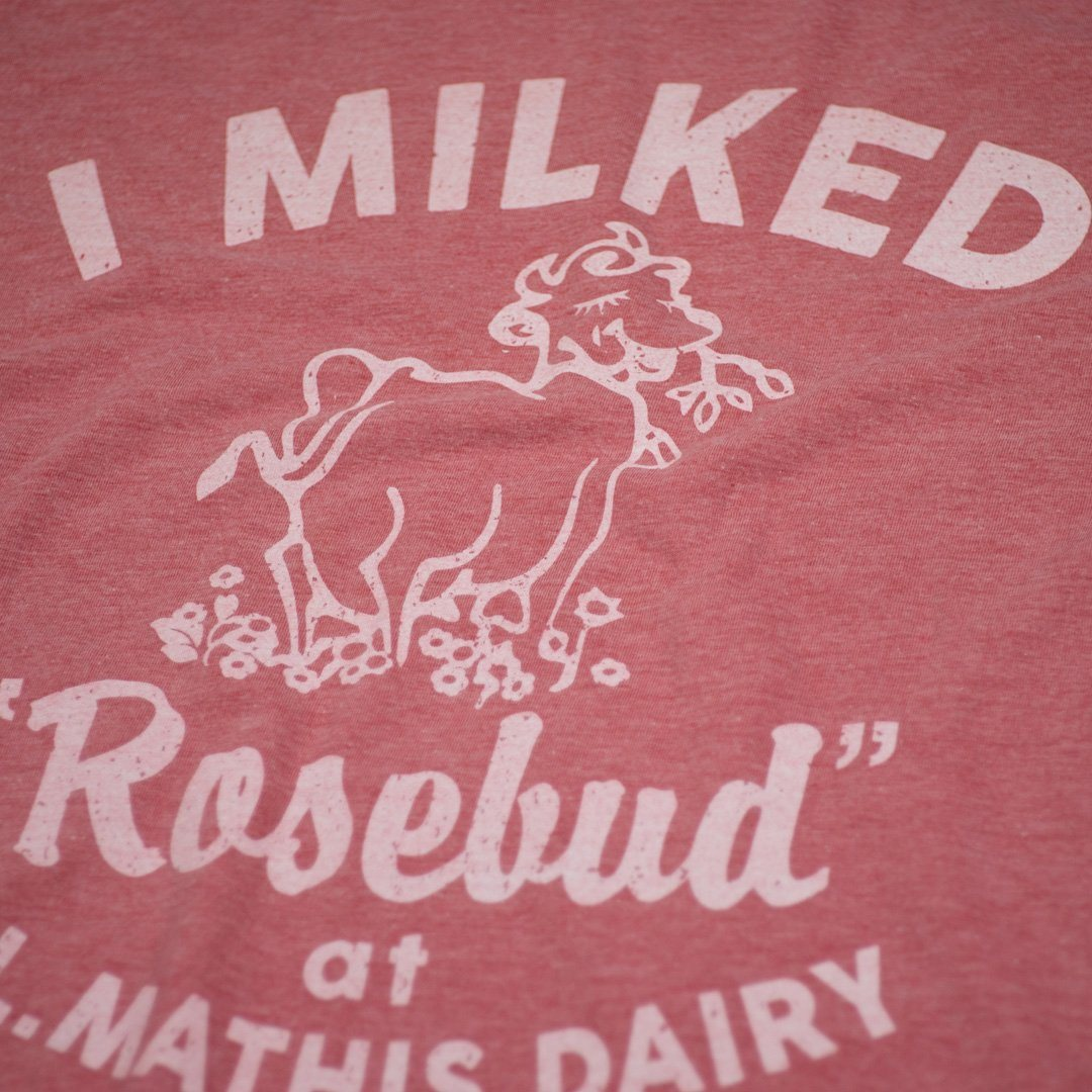I Milked Rosebud T-Shirt Detail Faded Red
