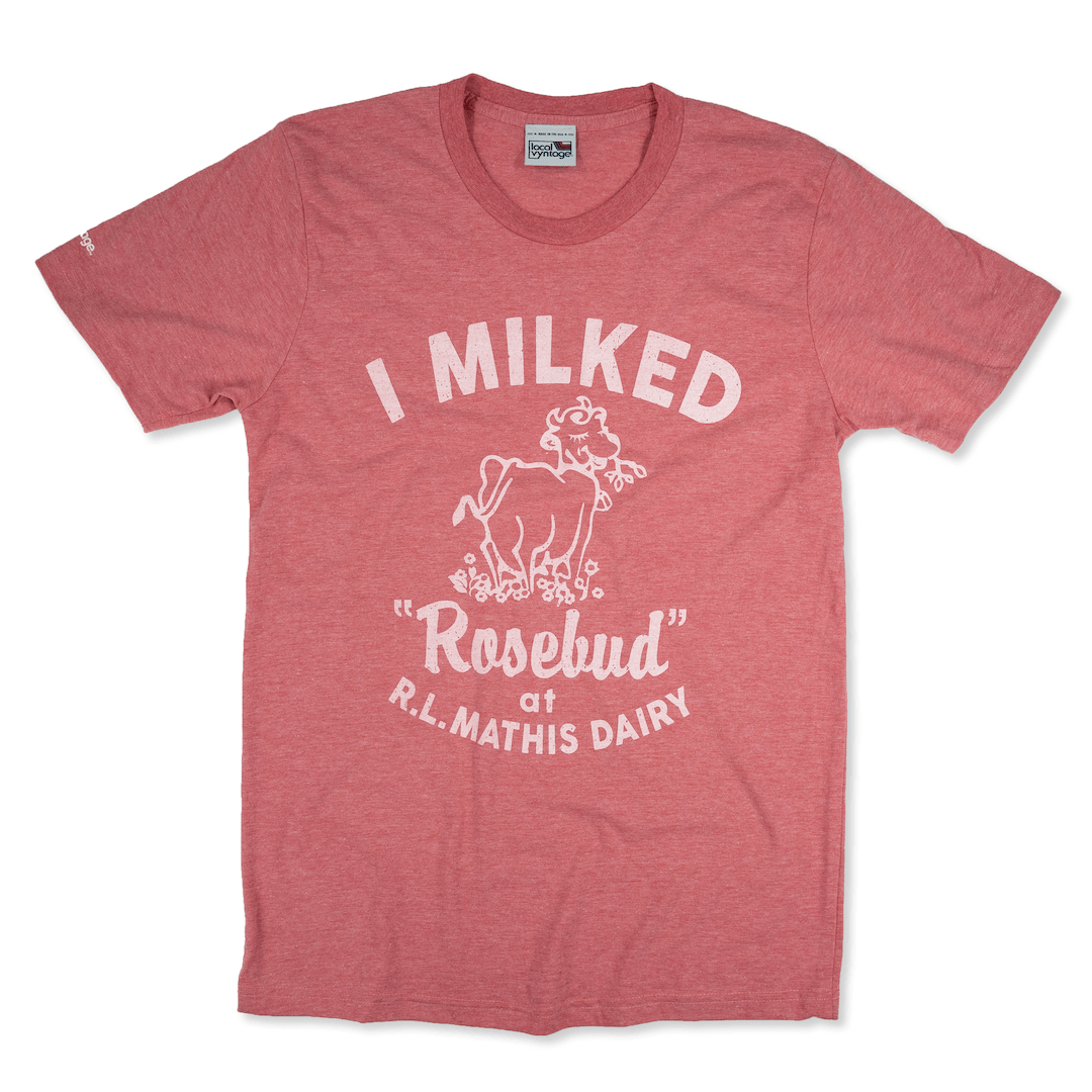 I Milked Rosebud T-Shirt Front Faded Red