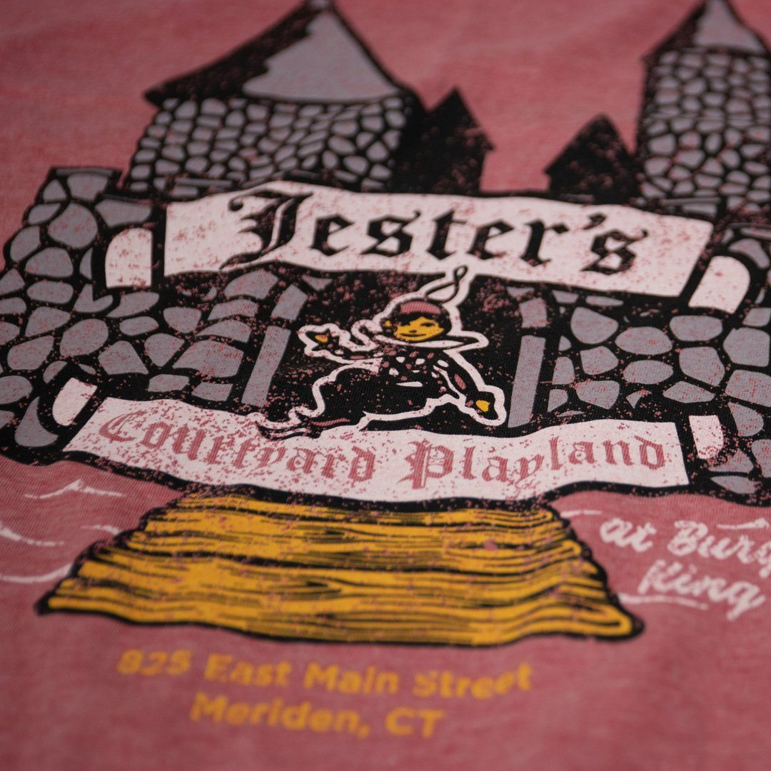 Jester's Courtyard T-Shirt Detail Faded Red