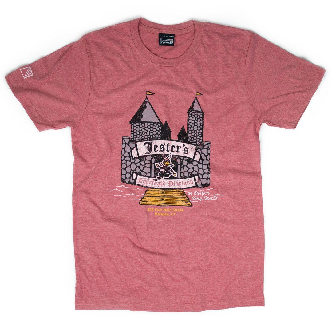 Jester's Courtyard T-Shirt Front Faded Red