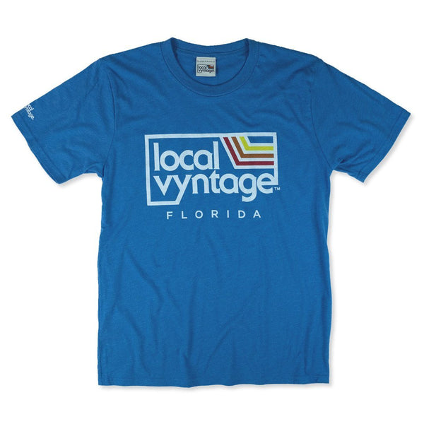 Local Vyntage Florida Logo T-Shirt Front Sea Blue