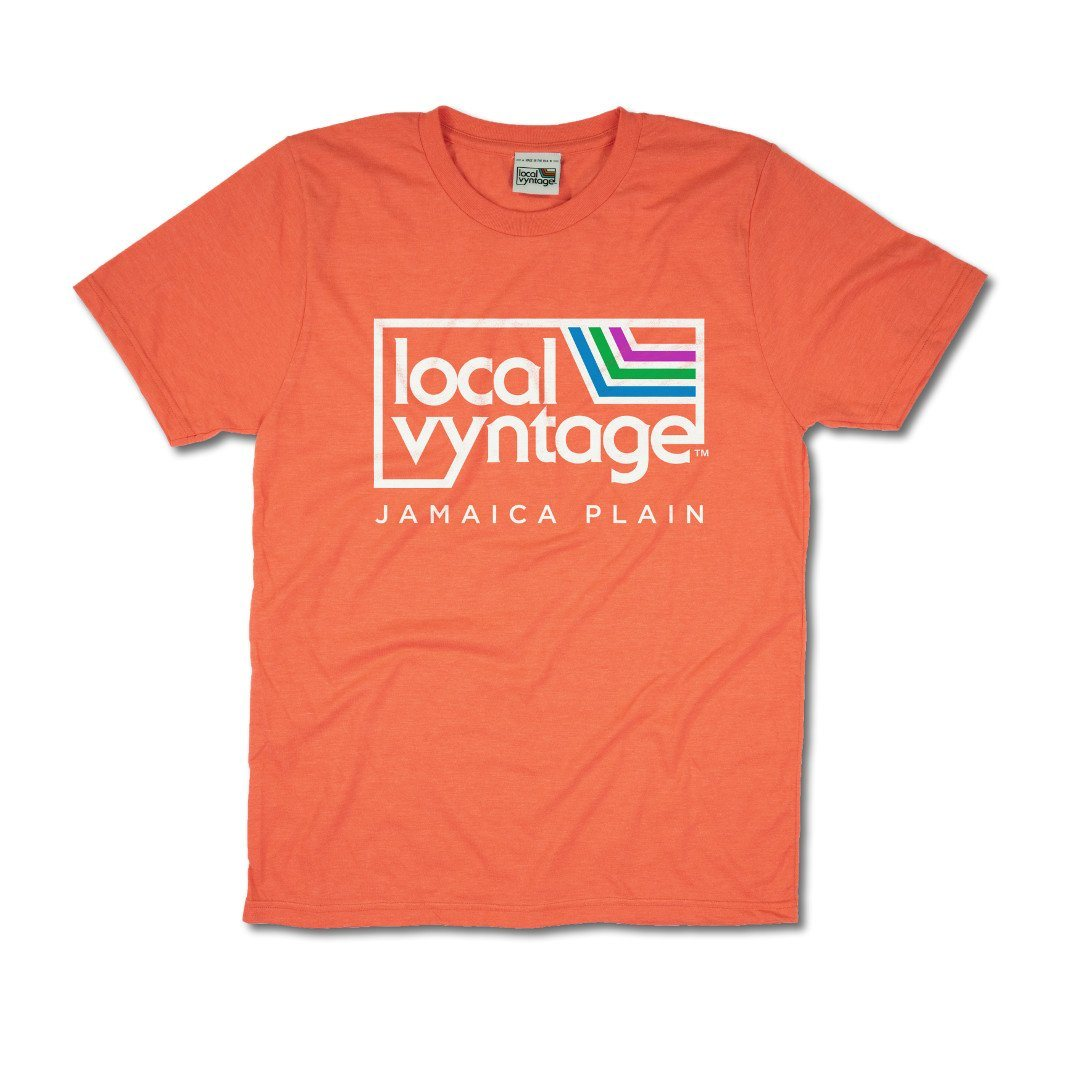 Local Vyntage Jamaica Plain T-Shirt Front Orange